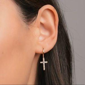 NWT! Gold Dainty Hoop/ Dangle Cross Earring Set